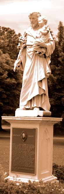 Statue of St. Joseph holding Baby Jesus located in the St. Joseph Memorial Park